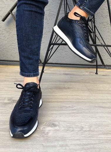 MARTINETTO Hakiki Deri Sneakers Lacivert